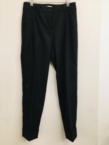 Pantalone donna  gessato  grigio scuro  con tasche frontali  con risvolti alla caviglia  made in Italy