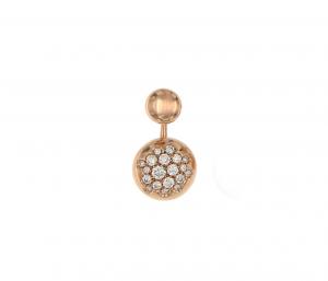 Orecchino singolo in oro rosa 18k e diamanti