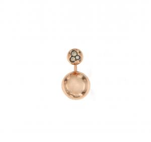 Orecchino singolo in oro rosa 18k e diamanti brown