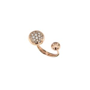 Anello in oro rosa 18k con boule grande in diamanti brown