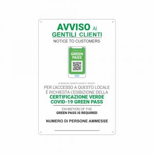 Cartello Green Pass Clienti