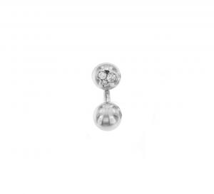 Orecchino singolo mini boule in oro bianco 18k e diamanti