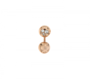 Orecchino singolo mini boule in oro rosa 18k e diamanti