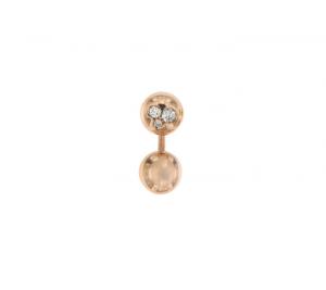Orecchino singolo mini boule in oro rosa 18k e diamanti brown