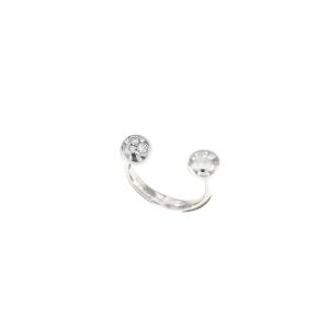 Anello Mini Boule in oro bianco 18k e diamanti