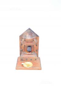 Miniatura Caminetto In Legno 21x15 Cm Con Posacenere