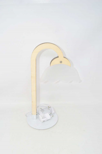 Shaped Lamp Of Flower With Wooden Frame H36 Cm