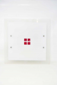 Glass Lamp Square With Pietrine Red - Center