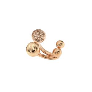 Anello doppia boule in oro rosa 18k e diamanti brown