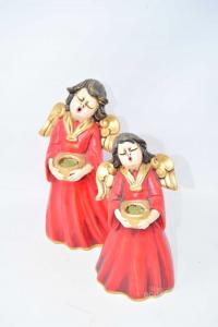 Oggetto Coppia Di Angioletti In Ceramica Rossi Altezza 25 E 21 Cm