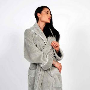 Accappatoio Cannes Uomo/Donna Personalizzabile - Cemento/Bianco