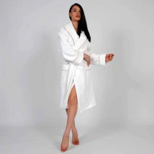 Accappatoio Cannes Uomo/Donna Personalizzabile - Bianco/Cipria