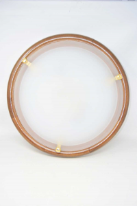 Glass Ceiling Lamp With Wooden Base Glass Satin White 46 Cm