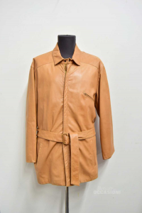 Jacket Man In Real Leather Beige Size.54