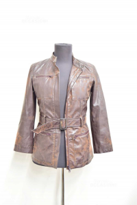 Jacket Woman Brown In Faux Leather Made In Italy Size 40
