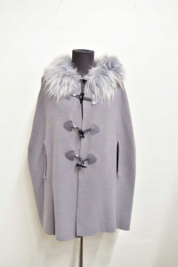 Cape Grey Cashmere And Wool Woman With Neck Eco Fur