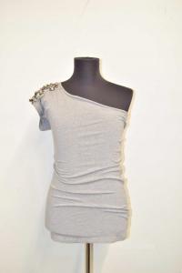 Butxthe T-shirt Blumarine Size 44 Monospalla With Jewels Grey