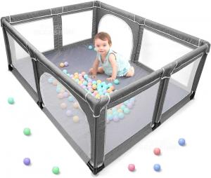 Yobest Box Per Bambini Misura Xl 190x150x68 Cm Grigio ( Difetto Su 1 Cerniera )