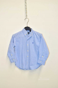 Camicia Bambino Ralph Lauren Anni 4 Quadretto Azzurro