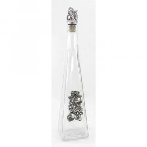 Bottiglia piramide in vetro e peltro per grappa