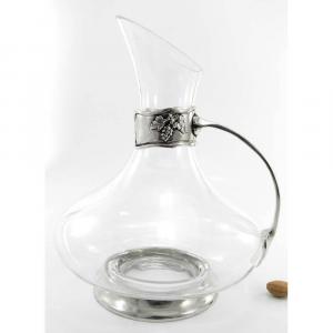 Decanter in vetro e peltro con manico e grappoli
