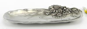 Portapenne floreale da scrivania in peltro 22x8 cm