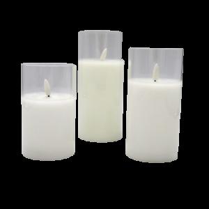 EDG set 3 candele a batterie luce tremolante