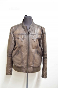 Jacket Leather Man Brown Size 50