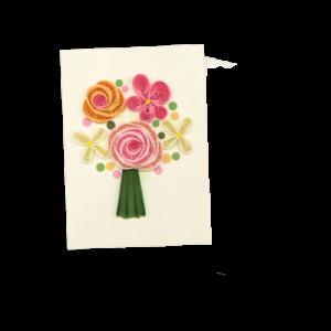 Origamo mini bouquet in filigrana di carta e biglietto con bustina