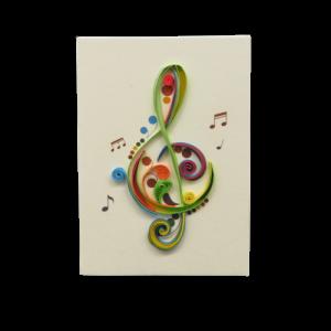 Origamo mini biglietto filigrana di carta Chiave di Violino