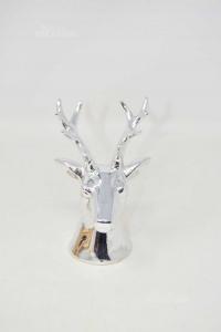 Statua Color Argento Testa Di Cervo 15 Cm Altezza