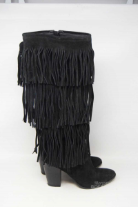 Boots Woman Black Suede N° 37 Black Fringes