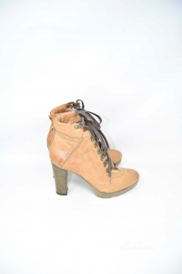 Ankle Boots Woman Irony N° 39 In Leather With Heels 10 Cm