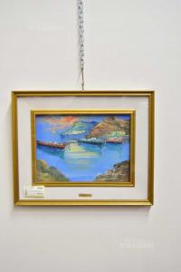 Painting Painted Landscape Lake With Boats M.de Lorenzo 53x43 Cm