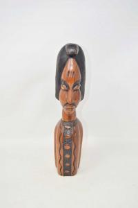 Statua Etnica In Legno Testa Africano 30 Cm Altezza