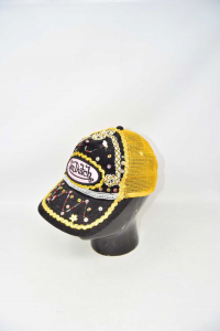 Hat Woman Von Dutch Embroidered Pearls Yellow Black
