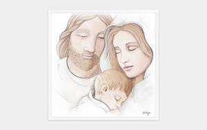 Quadro capoletto Estego con Sacra Famiglia Shabby 07154.32