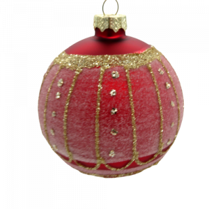 Pallina vetro rossa decorazioni oro