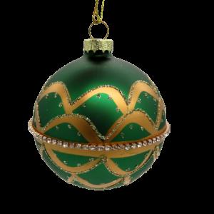 Pallina di vetro verde e oro 8cm