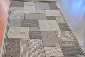 Carpet Gray Squares 136x200 Cm