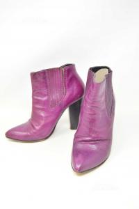 Ankle Boots Woman Dolce & Gabbana True Leather N° 40 Purple Heel 11 Cm