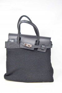 Bag Black Braided Rope And Leather 34x16x28 Cm