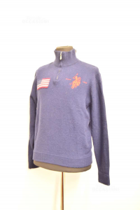 Sweater Man Polo Assn Size L Wool Blue With Zip