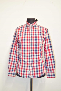 Shirt Man Playlife Size S Ckeckered White Red Blue
