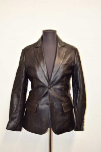 Jacket Man In Real Leather Black Handcrafted Size.44 / 46