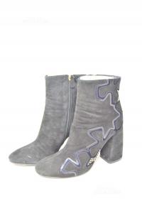 Ankle Boots Woman Lella Baldi N° 39 Leather Suede Black