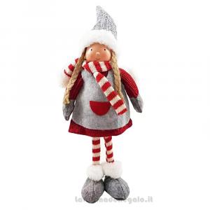 Bambolina Grigia e Rossa in piedi in tessuto 35 cm - Natale