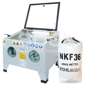 Sabbiatrice SOGI S-56 da banco + 25 kg corindone grana 80 + 25 kg microsfere vetro grana 200\/300