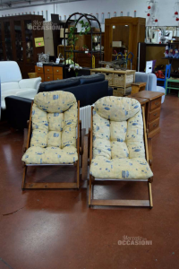 Pair Armchairs Wooden Frame Reclinabili Adjustable