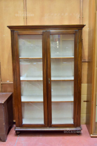 Wooden Showcase With Two Glass Cases And 3 Shelves